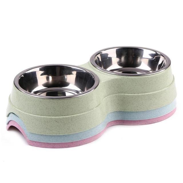 Anti-dérapage en acier inoxydable nourriture Double bols pour chien chat alimentation vaisselle mangeoire eau plat bol fournitures pour animaux de compagnie