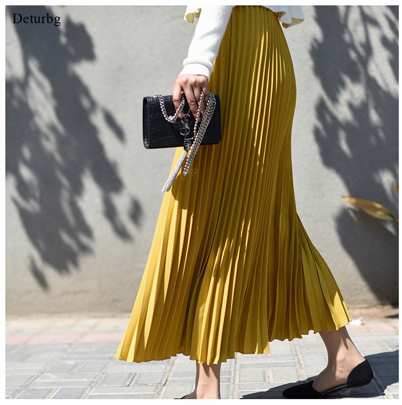 Womens Vintage Pleated Midi Long Skirt Female Korean Casual High Waist Chiffon Skirts Jupe Faldas 18 Colors 2019 Autumn SK397