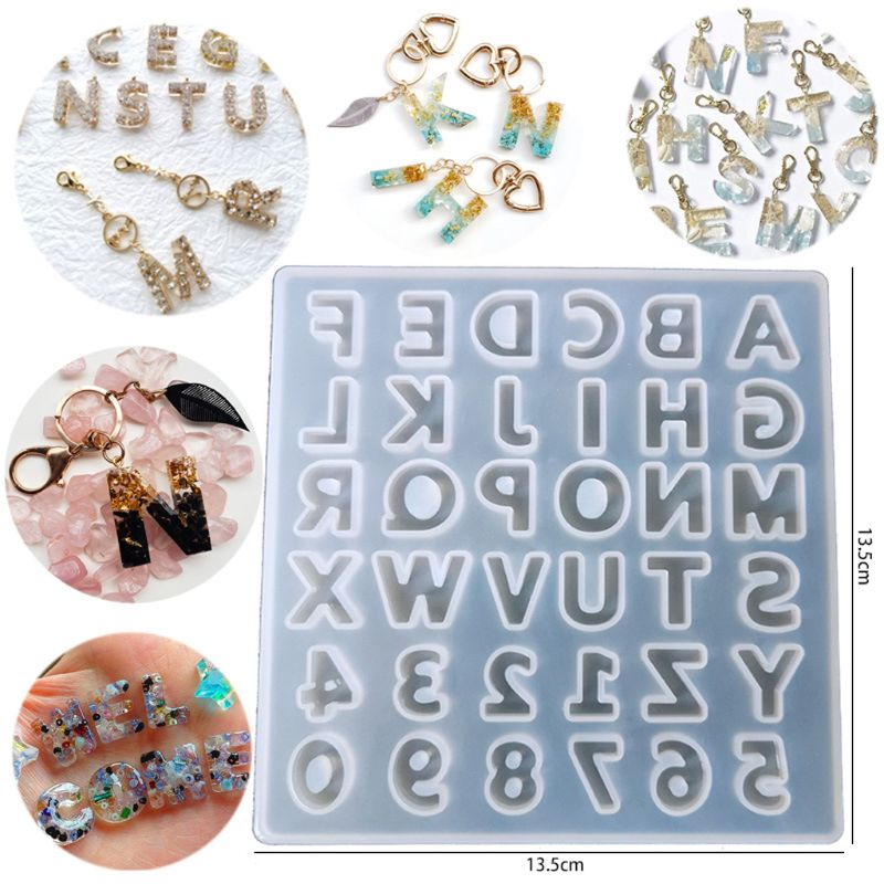 Letter Alphabet Pendant Silicone Resin Molds Personalized Keychain Jewelry Tools