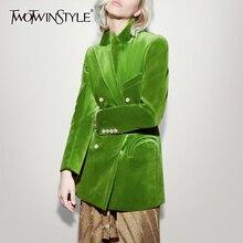 TWOTWINSTYLE Elegantผู้หญิงBlazerแขนยาวDouble Breastedกระเป๋าหญิงชุดเสื้อผ้าแฟชั่นฤดูใบไม้ร่วงใหม่2020