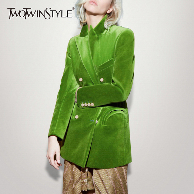 TWOTWINSTYLE Elegant Womens Blazer Notched Long Sleeve Double Breasted Pocket Female Suits Clothing Autumn Fashion  New 2020
