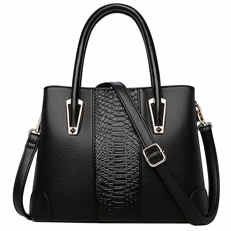 Elegant Women's Bags Genuine Leather Luxury Women Crocodile Pattern Handbag Large Black Leather Tote Bag Female Shoulder Bag