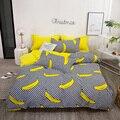 Комплект постельного белья с желтым бананом для мальчиков и девочек  домашняя простыня  наволочка  пододеяльник  3/4 шт