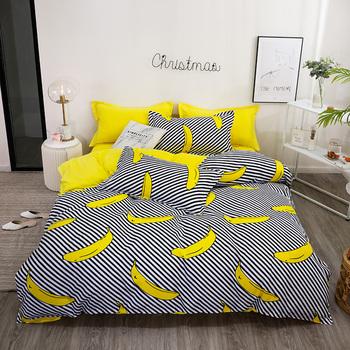 Yellow Banana bed linen bedding set boy girl home flat bed Sheet Pillowcase  Duvet Cover 3/4pcs queen king full single size