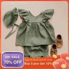 Uds.-Ropa de lino de color liso para niñas recién nacidas, vestido de algodón + bombacho, moda para recién nacidos, trajes de verano
