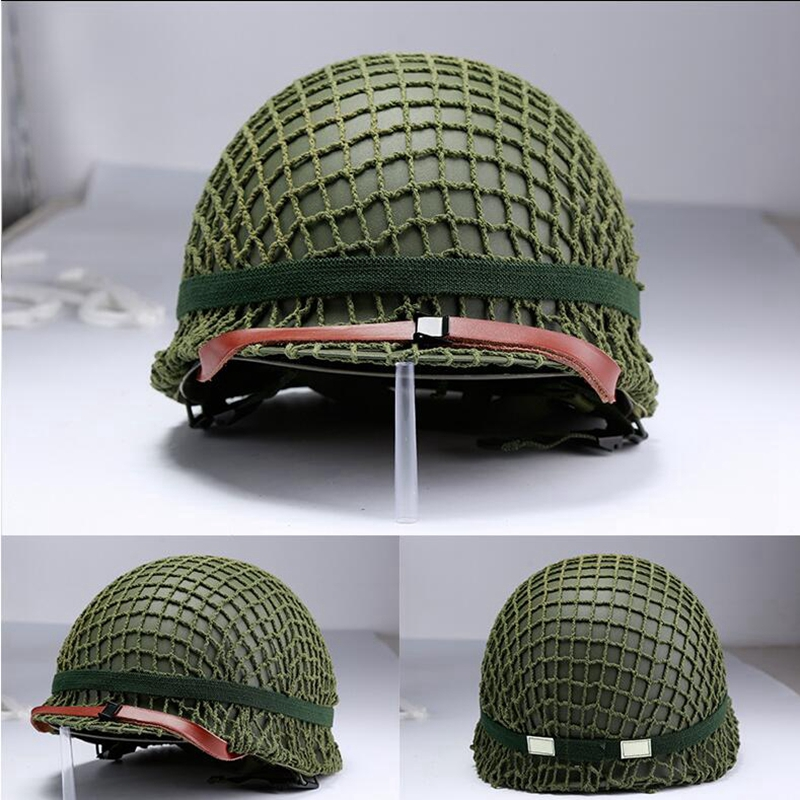 US Army M1 Green Helmet Replica Adjustable With Net/Canvas Chin Strap Tactical Paintball Gear Steel Helmet For Adults