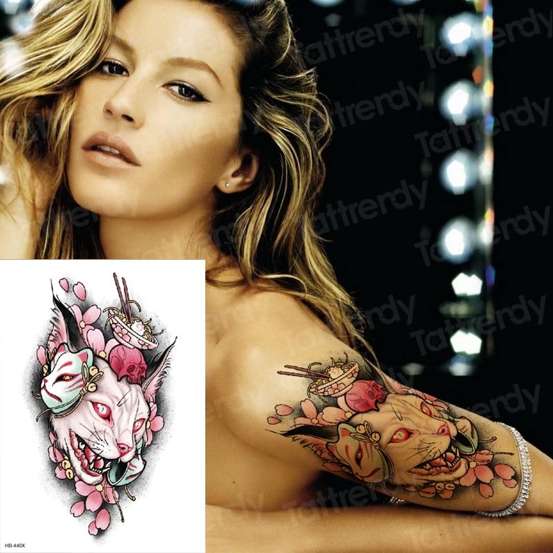 Temporary Tattoo Sticker Large Body Art Arm Flower Tattoo Moonlight Cat God Water Transfer Fake Tattoo Flash Tatto For Women Men