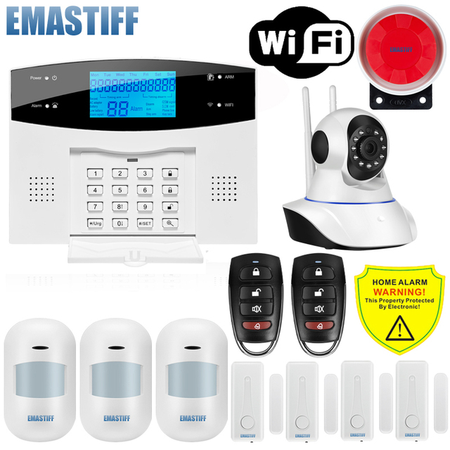 IOS Android APP Wired Wireless Home Security LCD PSTN WIFI GSM Alarm System Intercom Remote Control Autodial Siren Sensor Kit Computer, Office & Security