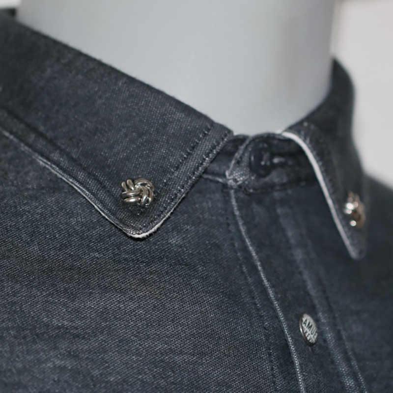 Pria Logam Kerah Pin Vintage Lapel Bros Pin untuk Men Suit Dress Dekorasi Kerah Pin Pakaian Pria Aksesoris Mendukung hadiah