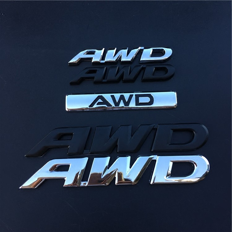 1 PCS 3D Metal AWD Logo Emblem Badge Car Body Decal Stickers for Subaru Honda 4X4 Off Road SUV Car Styling Decorative image