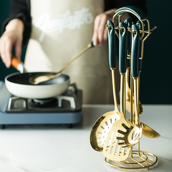 6/7 pcs conjunto de utensílios de cozinha estilo nórdico aço inoxidável utensílios de cozinha acessórios luxo utensílios de cozinha colher de ferramentas especiais 1