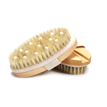 2 in 1 Body Bath Massage Brush Soft Bristle Oval Wooden Shower Brush with Grip Strap OR88 1