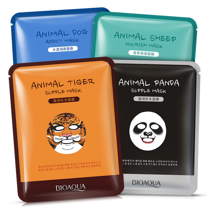 BIOAQUA 1 Pcs Skin Care Sheep/Panda/Dog/Tiger Facial Mask Cute Animal Face Masks Deep Moisturizing Oil Control Brighten Skin