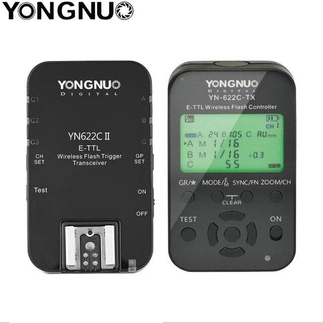Yongnuo YN 622C II + YN622TX flaş tetik alıcı verici TTL flaş tetik Canon 5D 7D YN622