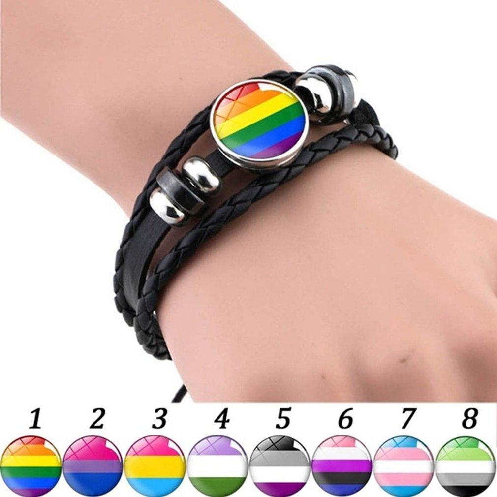 Новинка 2020, кожаный браслет Bi Pride 20 мм, стеклянный кабошон, геев, гордыня, радужный флаг, фото, браслет, ювелирные изделия для женщин, мужчин, в...