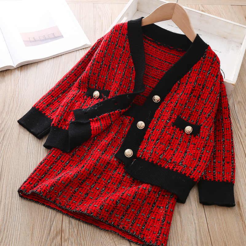 Roupa Dos Miúdos de inverno Knit Sweater Cardigan Top & Saia xadrez Moda Adolescente Meninas Roupas de Natal Das Crianças Roupas Outono Traje