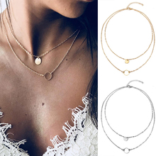 2020 New Fashion Ladies Multi-layer Necklace Gold/Sliver Color Sequined Pendant Necklaces Vintage Metal Chain Jewelry Gift