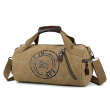 Customizable for Both Men and Women Hand Shoulder Canvas Cylindrical Casual Travel Fitness Clothing Package-Retro Bucket Bag
