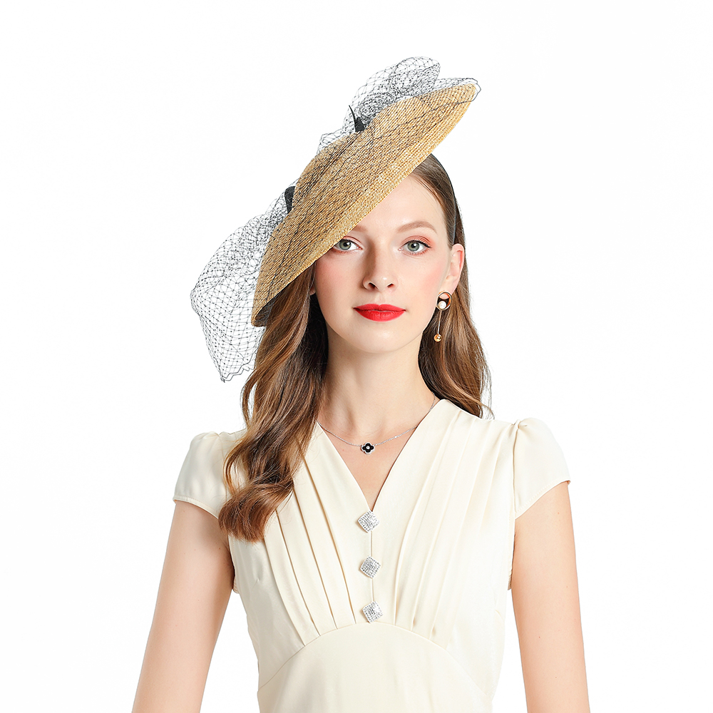 Fedoras chapeau jaune Fascinator pour les femmes élégant église paille casque de mariage mode chapeaux fête bandeau cheveux accessoires