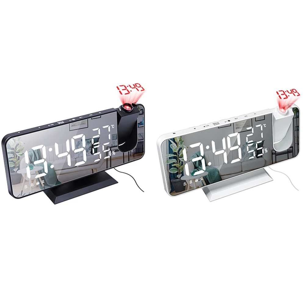 Projetor digital despertador led eletrônico mesa snooze backlight temperatura relógio de umidade com projeção tempo rádio fm