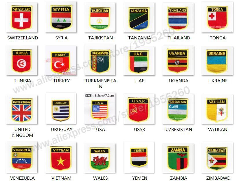 National Flag shield Embroidery Patch Badge All Over the World 6*7cm SWITZERLAND TURKEY UAE UKRAINE USA USSR WALES UNITED KIN(China)