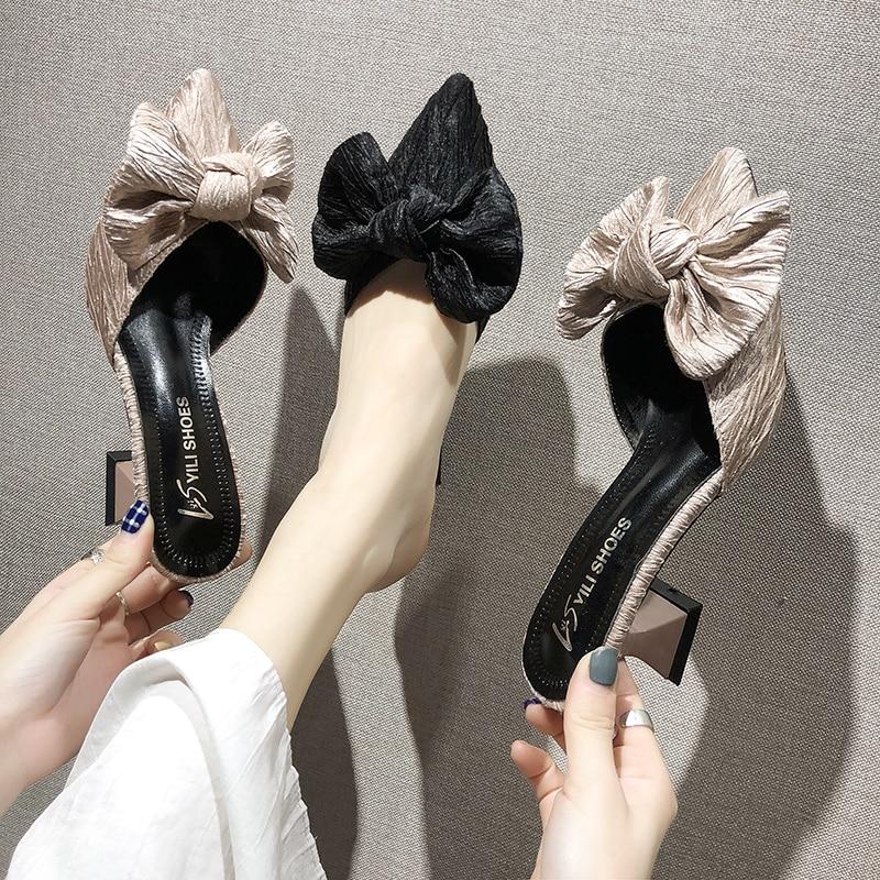 Новинка; Фирменный дизайн; Женские нескользящие туфли на высоком каблуке с бантом; Модные вечерние туфли с закрытым носком; Специальная обувь из эластичной ткани|Туфли|   | АлиЭкспресс