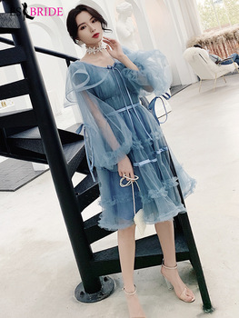 Birthday Party Special Occasion Dresses 2019 Short Blue White A Line Ruffles Sleeves Simple Lace Beautiful Evening Party Dress