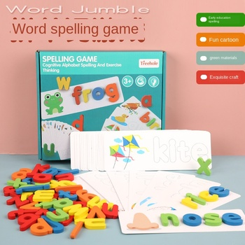 Word Spelling Toys Children's Puzzle Wooden Spelling Word Game Kindergarten Teaching Aids English Alphabet Cognitive Learning image