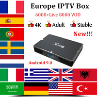 Europe IPTV Box X96H smart tv box android 9.0+1 year IPTV subscription IPTV France Arabic Portugal Spain IPTV M3U Android tv box