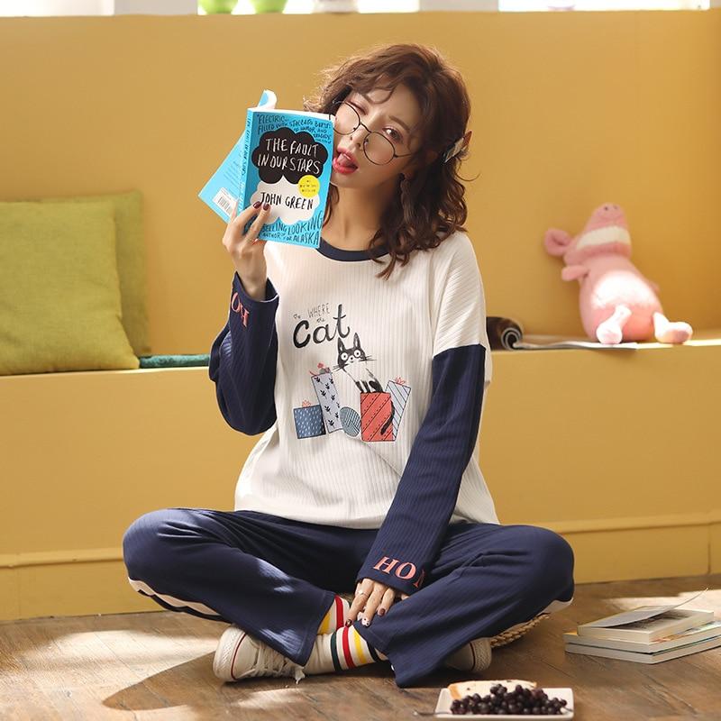 Sweet Girl's Pyjamas Two-piece Set Long Sleeve Round Collar Printing Polyester College Windprint Home Wear Set Warm Pajamas 38