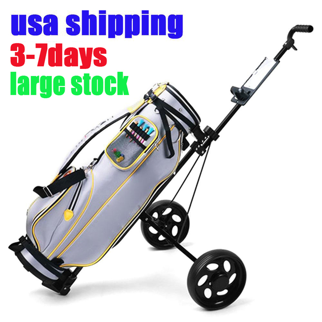 Golf Pull Cart Adjustable Golf Trolley Cart 2 Wheels Push Pull Golf Cart Aluminium Alloy Foldable Trolley With Brake 1