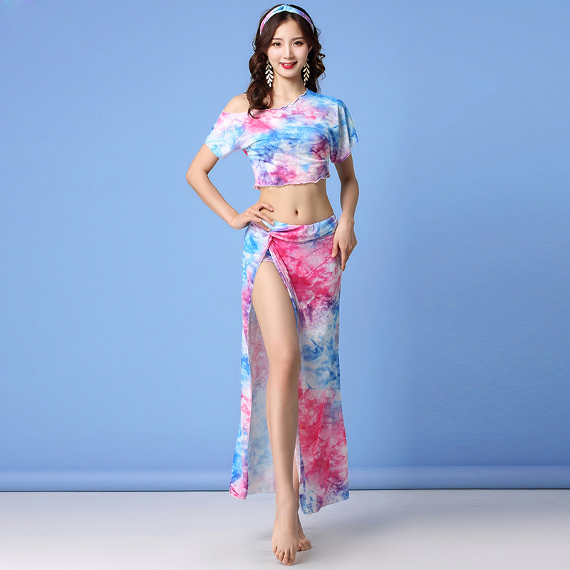 Tie-dyed Floral 2019 Women Class Wear Off-shoulder Top And Skirt Side Slit Belly Dance Costume Set For Girls (with Shorts)