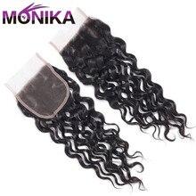 Monika волосы индийская волна Закрытие 100% человеческие волосы закрытие 4x4 швейцарские кружева закрытие волос Средний коричневый 3 части закрытие Non Remy