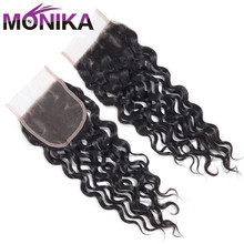 Monika Hair Indian Water Wave Closure 100% Human Hair Closures 4x4 Swiss Lace Closure Hair Medium Brown 3 Part Closure Non Remy