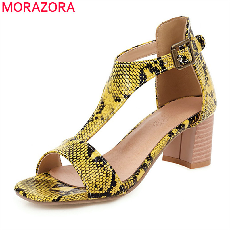 MORAZORA 2020 Plus Size 33-46 Fashion Women Sandals Summer Buckle Summer Casual Shoes Claasic Snake Comfortable Women Pumps