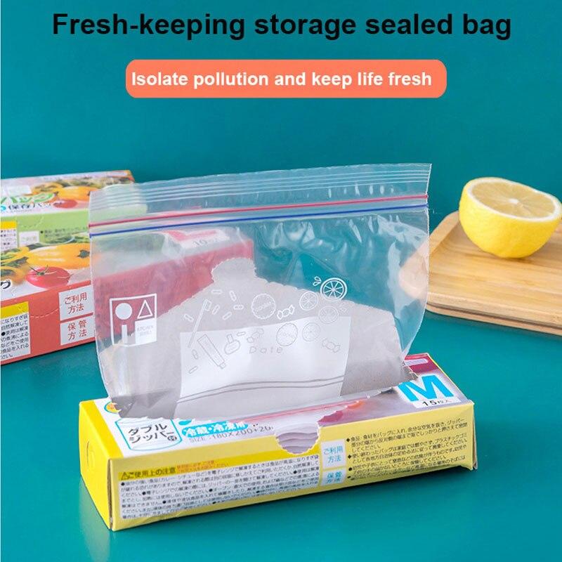 3 размера PE Еда сумка для хранения многоразового использования сумка-холодильник герметичные мешки замка застежка-молнии Кухня Органайзер ...