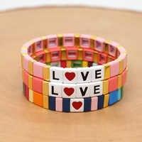 Shinus Pulseras Mujer Moda 2019 Pulseras carta de amor con corazón pulsera con mosaico esmaltado brazaletes de Mujer joyería Rosa Boho aleación hecha a mano