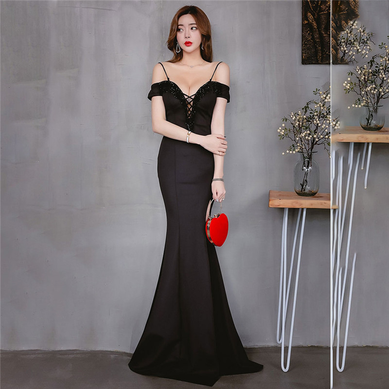 Skyyue 2019 Off The Shoulder Short Sleeve Evening Dress Robe De Soiree Lace Up Sweetheart Women Party Dresses Formal Gowns C139 in Evening Dresses from Weddings Events
