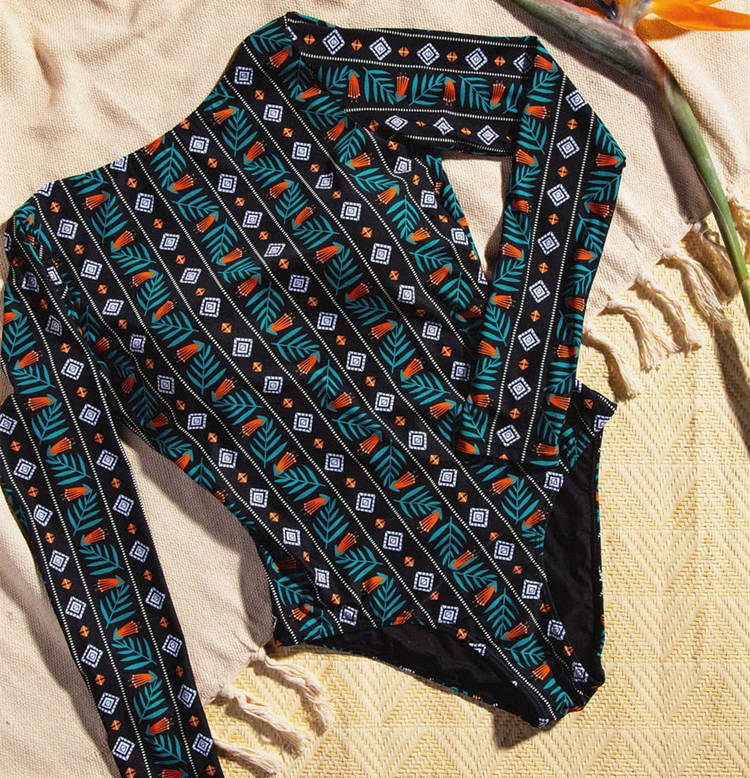 Женский слитный купальник с длинными рукавами, Цветочный купальник, монокини с тропическим принтом, открытая спина, фламинго, купальный костюм, боди Bain - Цвет: AD19422D1