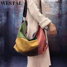 WESTAL las mujeres bolso de mano de cuero genuino de lujo bolsos de las mujeres bolsos de diseñador de mujer bolsa de hombro bolsas grandes para las mujeres 515