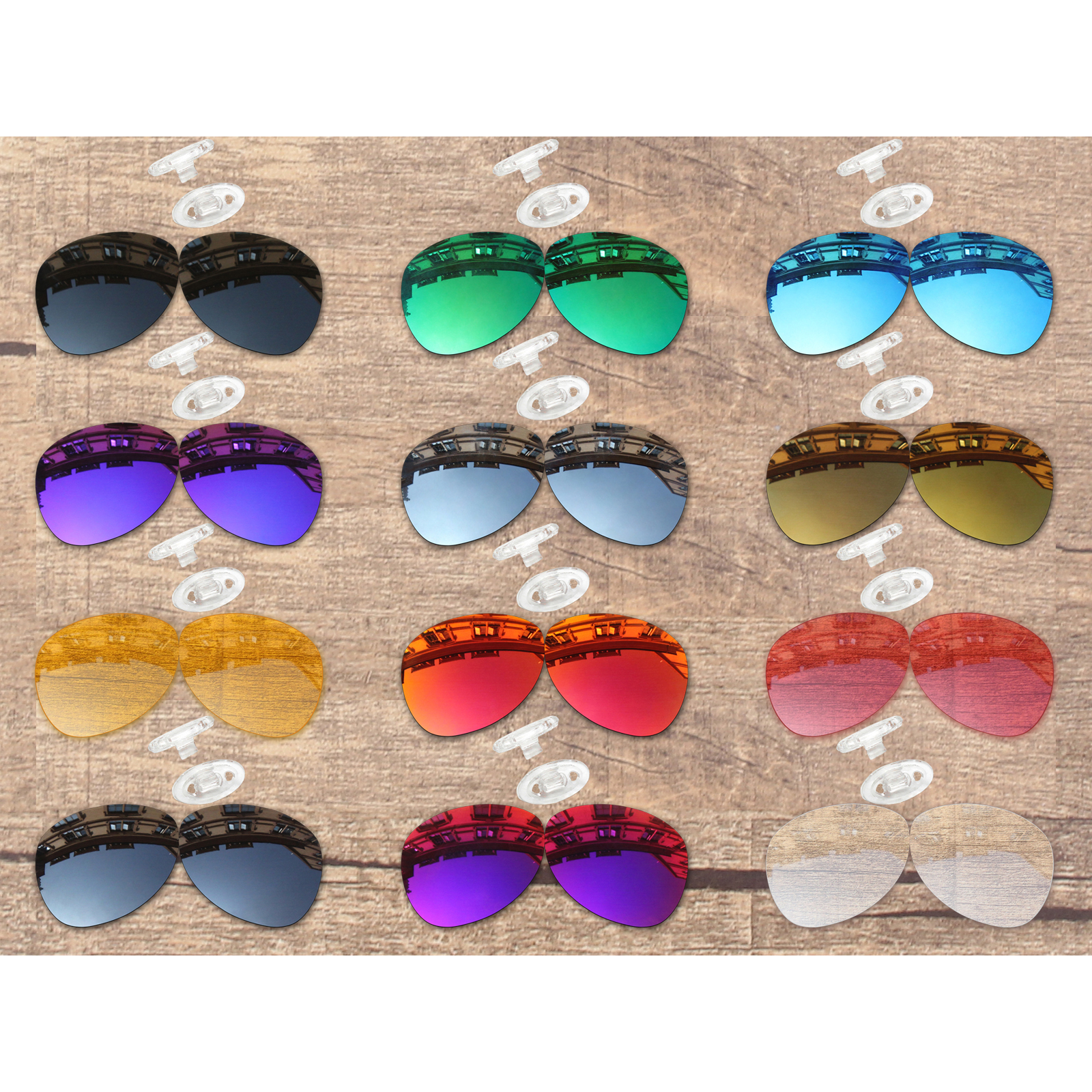 Vonxyz 20+ Color Choices Polarized Replacement Lenses & White Nose Pads For-Oakley Plaintiff OO4057 Frame