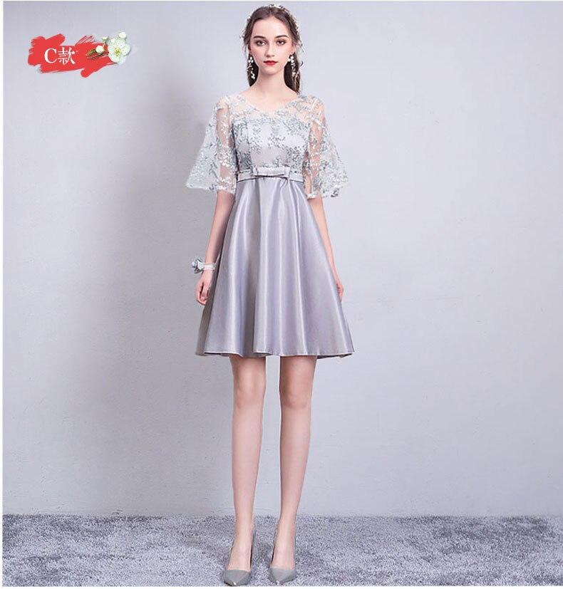 Vestido Azul Marino V-neck Short Frocks Burgundy Bridesmaid Satin Dress For Wedding Party For Woman Sexy Prom Dressse Sister