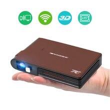 Bolso wifi projetor mini hd dlp bateria suporte 1080p airplay 3d, pequeno sem fio portátil pico tamanho com alto-falante auto keystone