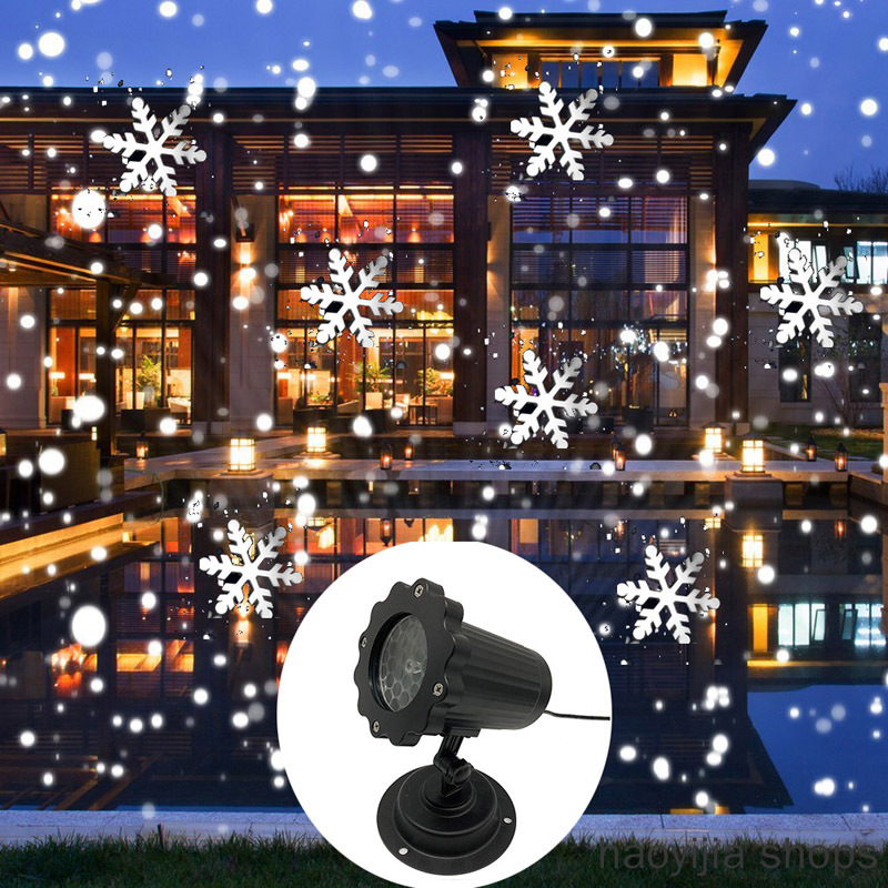 New Product Laser Projection Lamp New Year Party Decoration Christmas Snowflake Laser Light Snowfall Projector IP65 Mobile Snow