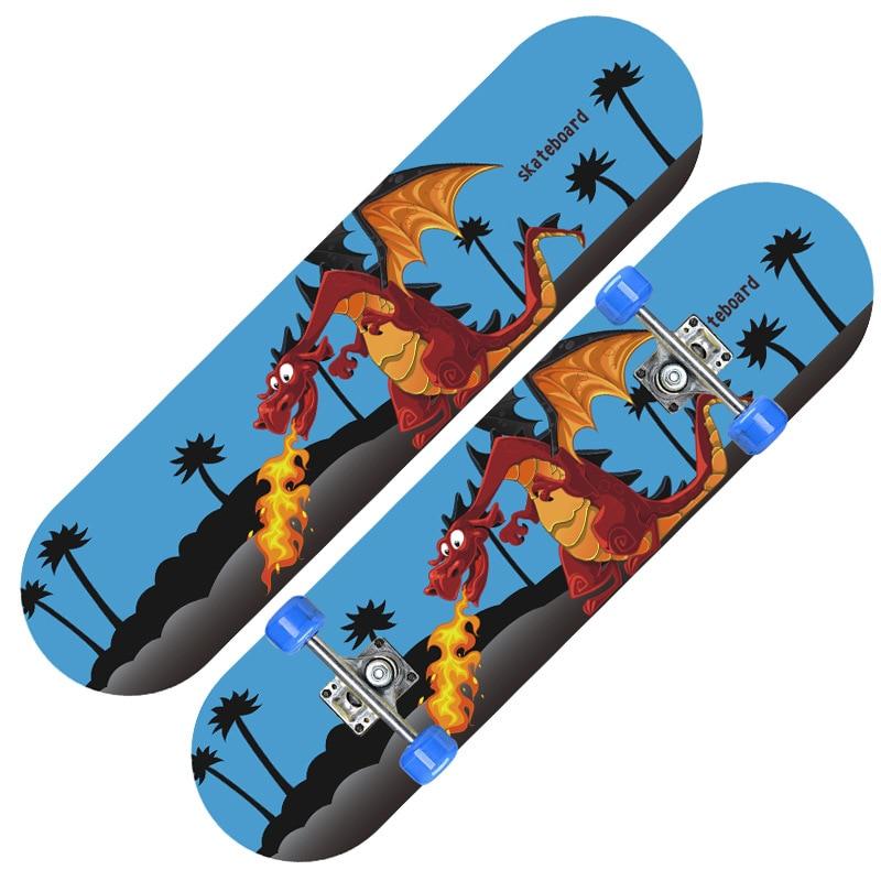 Children's Skateboard Maple Teenager Four Wheel Skateboard Men And Women Double-Sided Cartoon Double Rocker 2808 Manufacturers W