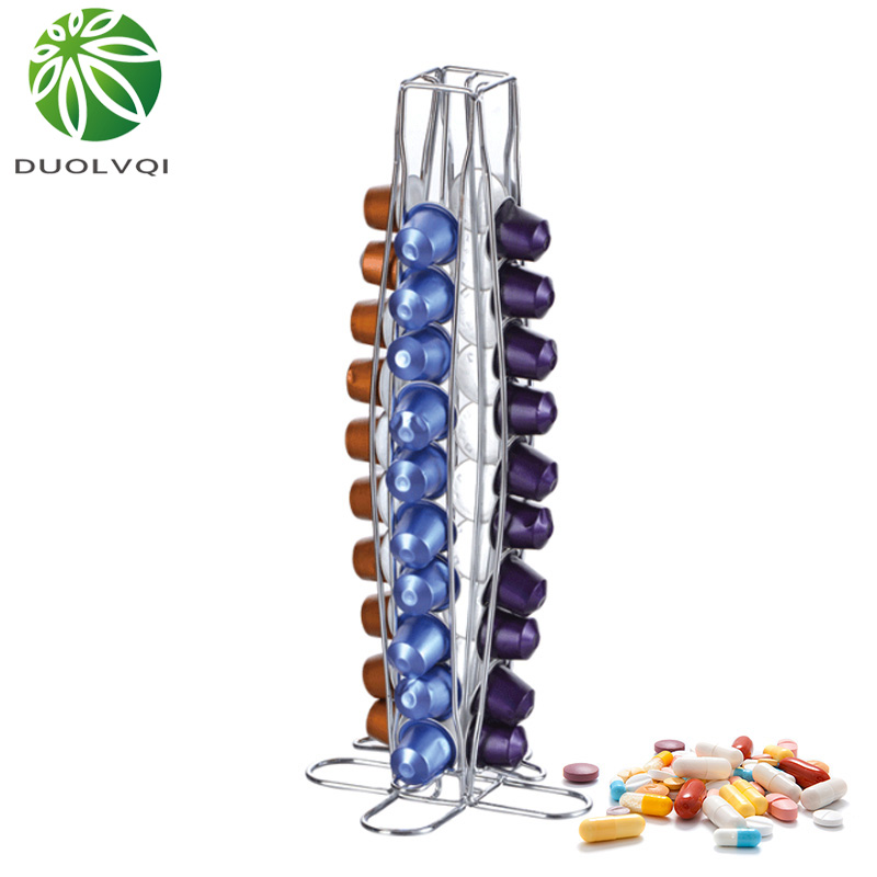 Duolvqi Coffee Pod Holder Dispenser Coffee Capsules Dispensing Tower Stand Fits For Nespresso Capsule Storage Coffee Holder|Coffeeware Sets| |  - title=