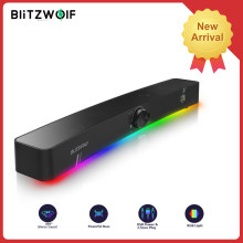 BlitzWolf BW-GS3 Alto-falantes de jogos de computador com RGB Light Powerful Bass 360° Stereo Sound Smart PC alto-falante 3.5mm USB Power Speaker Soundbar Loudspeaker para PC Computador Smart TV Home Theater Game Movie