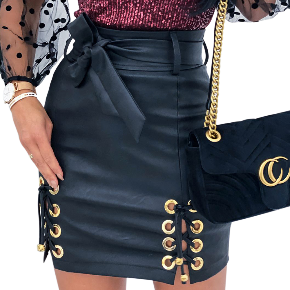 Faux Leather Skirt Girls Punk Lace Up High Waist Skirts Womens 2020 Fashion PU Leather Black Pencil Mini Skirts Jupe Femme D30