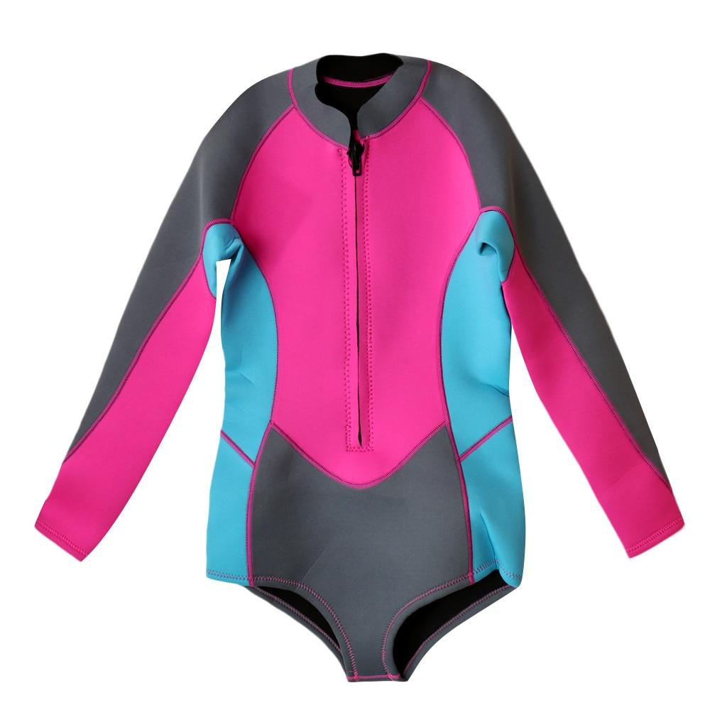 Femmes 3mm néoprène surf combinaison 1 pièce maillot de bain manches longues avec fermeture éclair Bikini Style combinaison pour les Sports nautiques