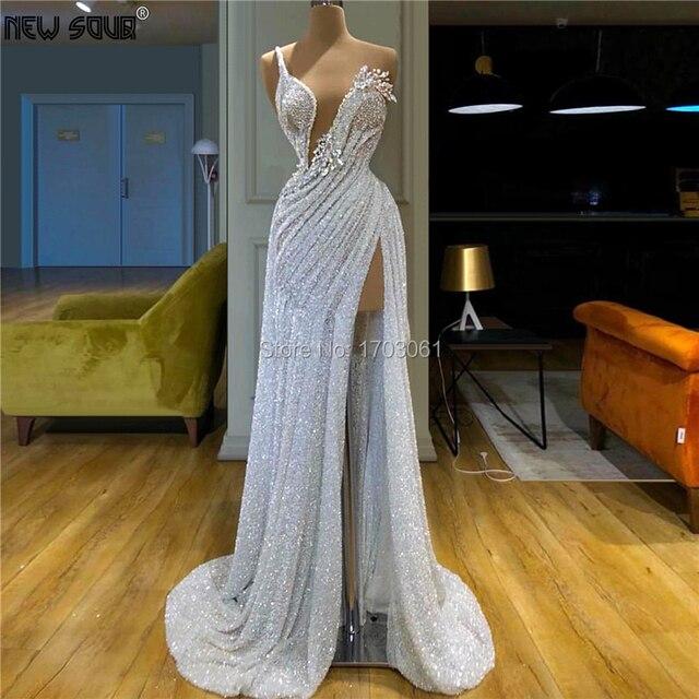 Aibye vestidos de noche con abalorios y lentejuelas, Vestido de baile hecho a mano, Túnica de Dubái para fiesta de Oriente Medio africano, color blanco, elegante, 2020